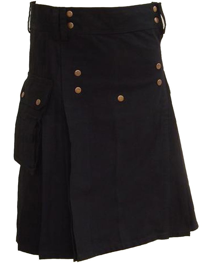 Black Utility Cotton Kilt 34 Size Working Kilt with Cargo Pockets and Front Brass Buttons
