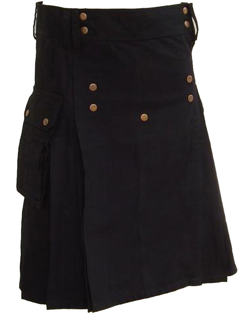Black Utility Cotton Kilt 48 Size Working Kilt with Cargo Pockets and Front Brass Buttons