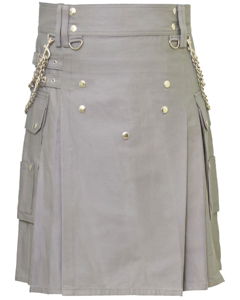 Gray Fashion Kilt with Chain 50 Size Working Kilt with Cargo Pockets and Front Brass Buttons