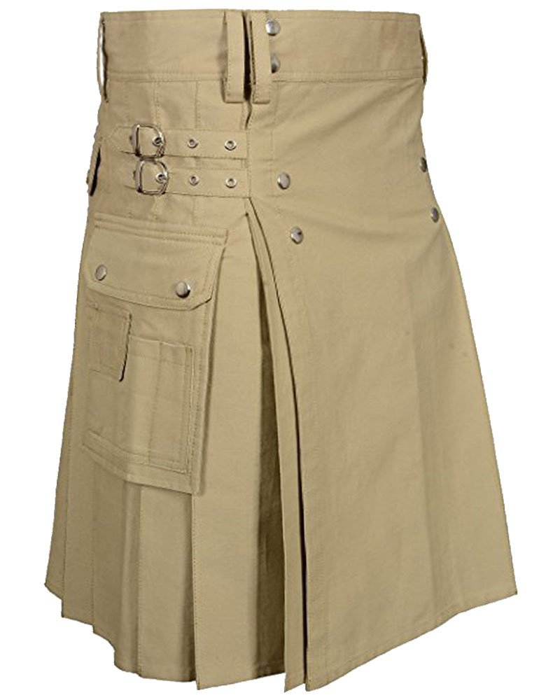 Handmade 40 Size Custom Stitched Khaki Cotton Utility Kilt with Cargo Pockets