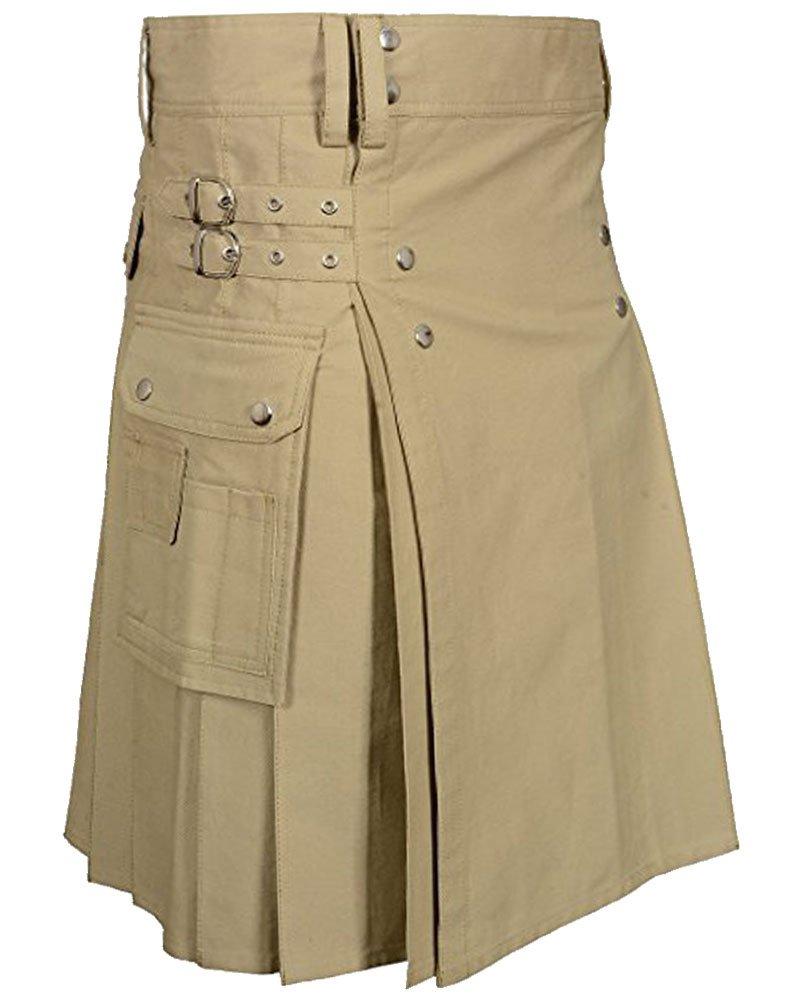 Handmade 44 Size Custom Stitched Khaki Cotton Utility Kilt with Cargo Pockets