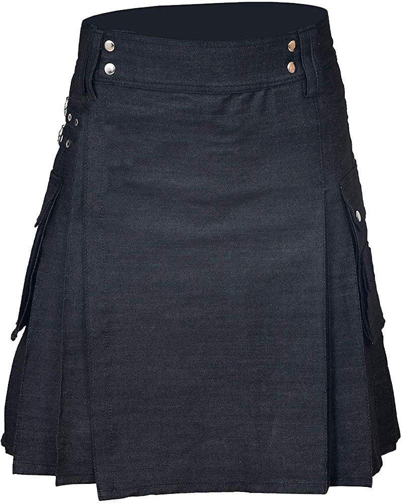 Handmade 32 Waist Size Black Denim Utility Kilt with Cargo Pockets