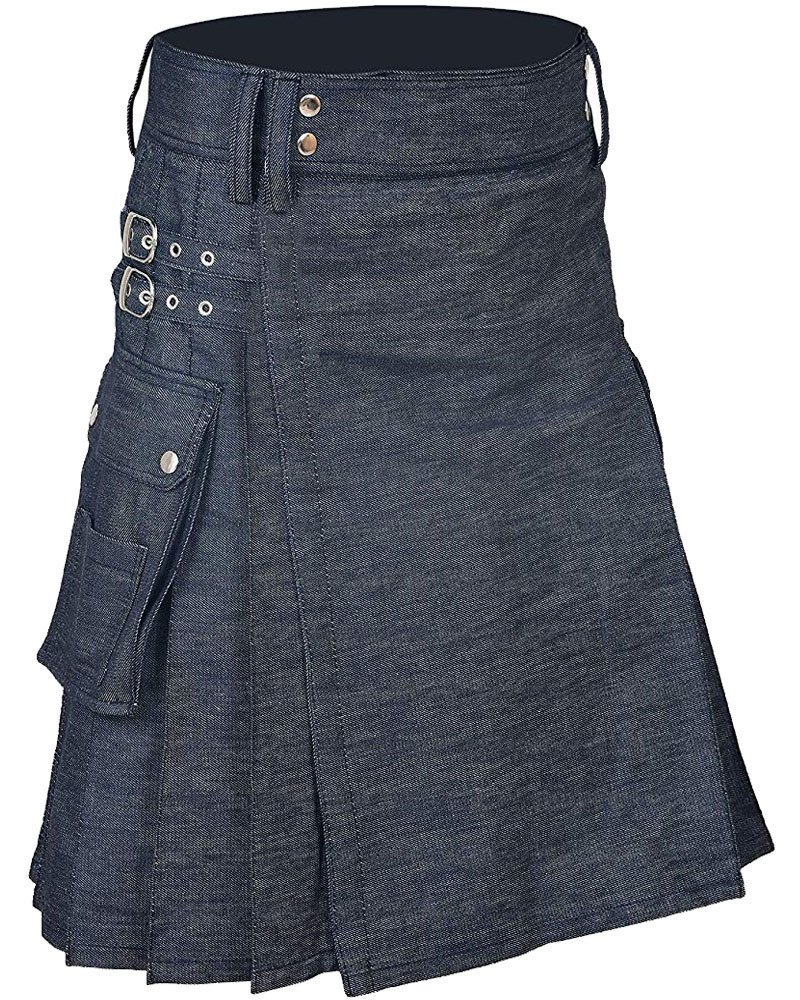 Active Men Handmade Blue Denim Modern Utility Kilt 30 Waist Size Kilt with Cargo Pockets