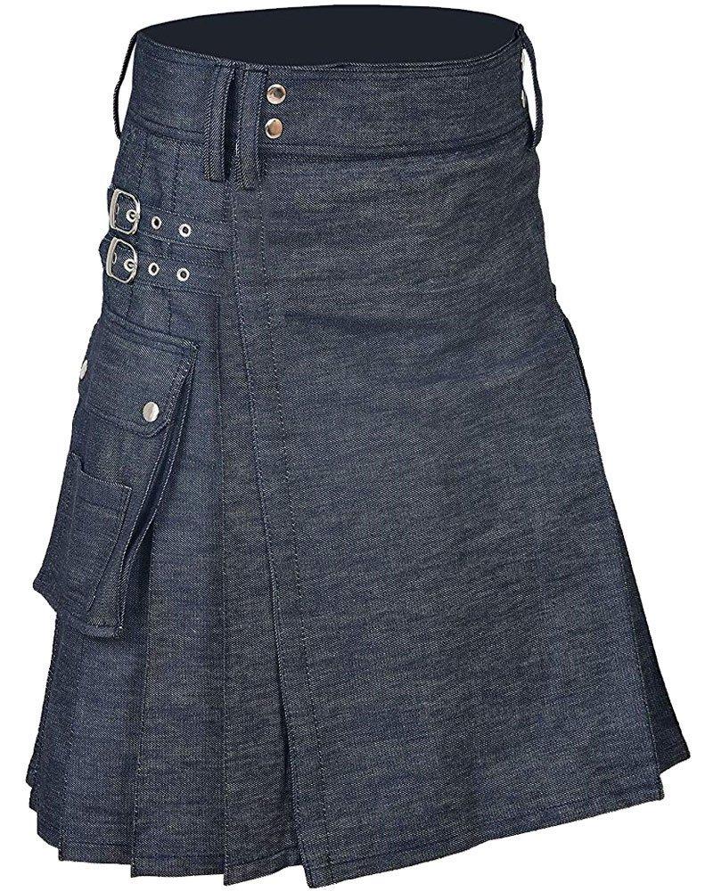 Active Men Handmade Blue Denim Modern Utility Kilt 50 Waist Size Kilt with Cargo Pockets