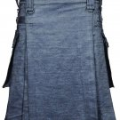 Deluxe Active Men Handmade Grey Denim Modern Utility Kilt 44 Waist Size Jeans Kilt / Skirt