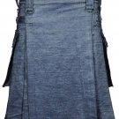 Deluxe Active Men Handmade Grey Denim Modern Utility Kilt 50 Waist Size Jeans Kilt / Skirt