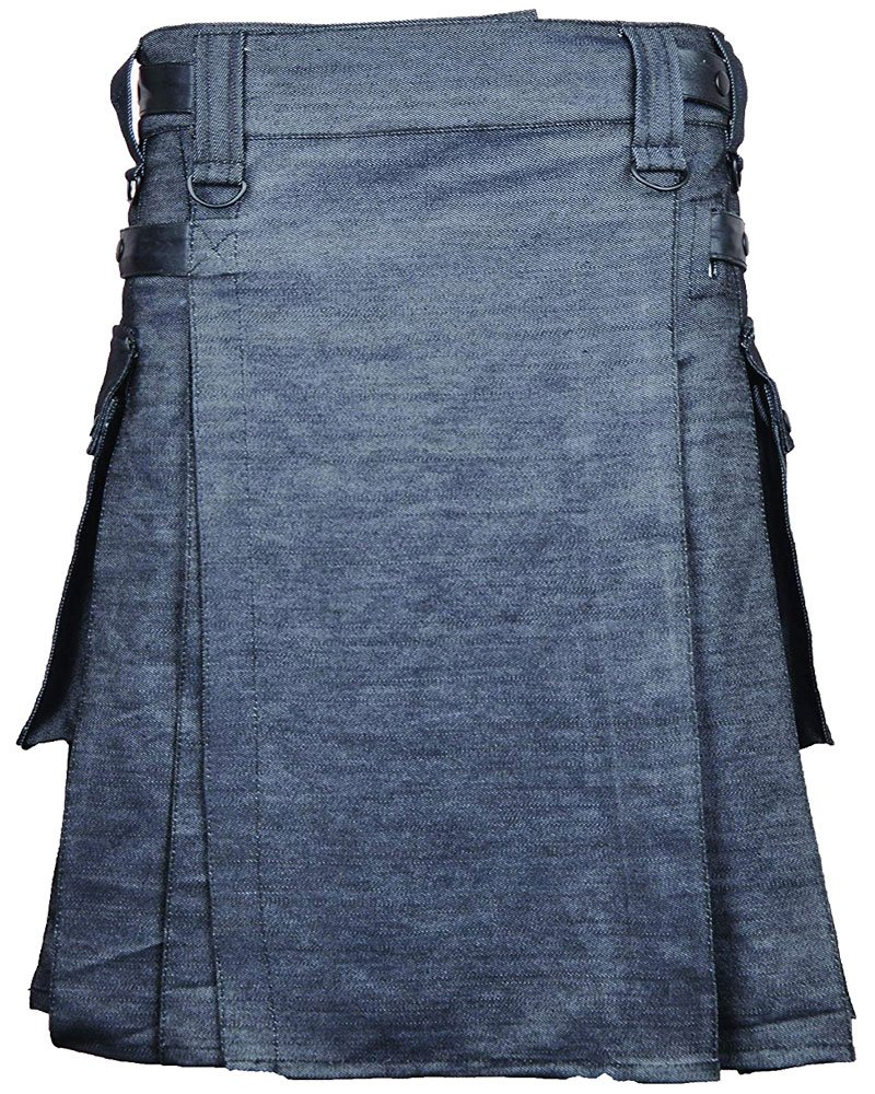 Active Men Grey Denim Modern Utility Kilt 40 Waist Size Jeans Kilt with Adjustable Leather Straps