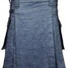 Active Men Grey Denim Modern Utility Kilt 50 Waist Size Jeans Kilt with Adjustable Leather Straps