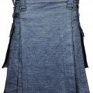 Active Men Grey Denim Modern Utility Kilt 60 Waist Size Jeans Kilt with Adjustable Leather Straps