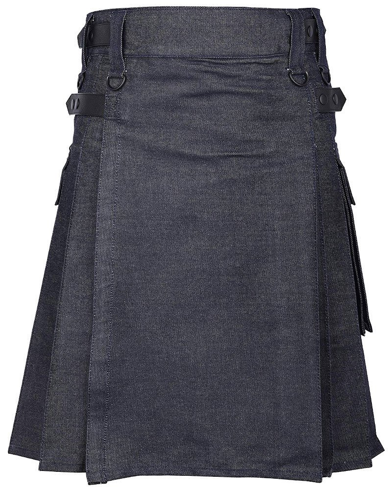 Active Men Handmade Blue Denim Modern Utility Kilt Adjustable Leather Straps 34 Waist Size Kilt