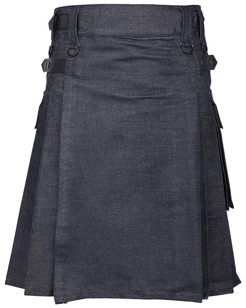 Active Men Handmade Blue Denim Modern Utility Kilt Adjustable Leather Straps 40 Waist Size Kilt