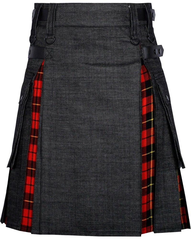 Active Men Black Denim Inner Wallace Tartan Hybrid Kilt with 36 Waist Size Adjustable Leather Straps