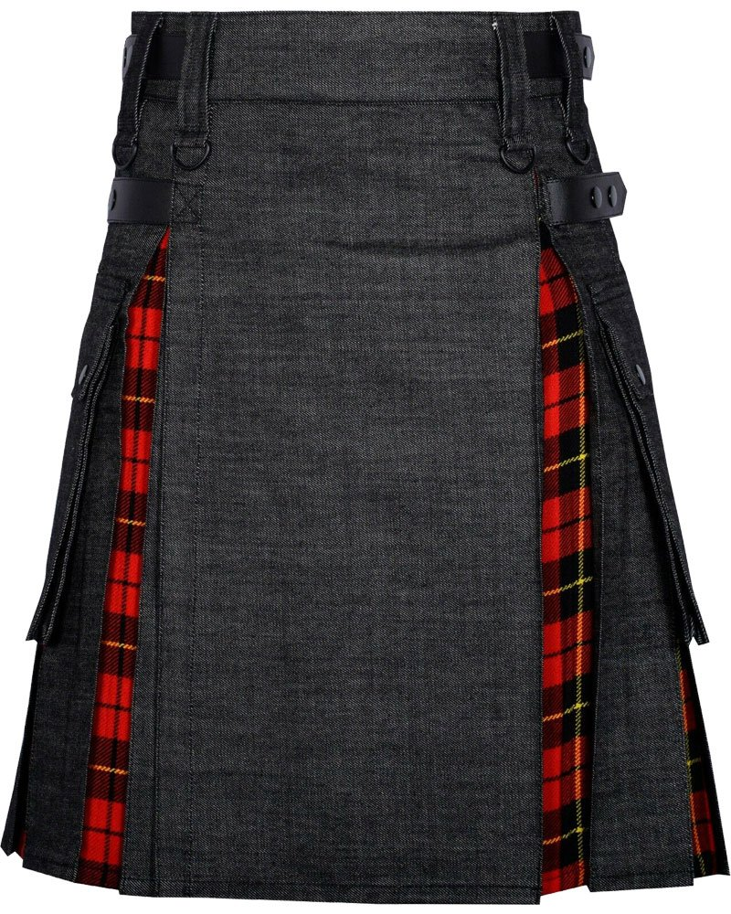 Active Men Black Denim Inner Wallace Tartan Hybrid Kilt with 44 Waist Size Adjustable Leather Straps