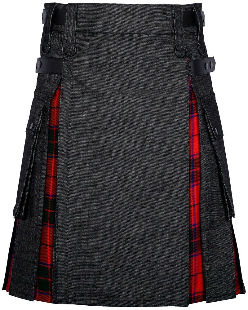 Active Men's 32 Waist Size Hybrid Utility Kilt Black Denim & Royal Stewart Tartan Kilt