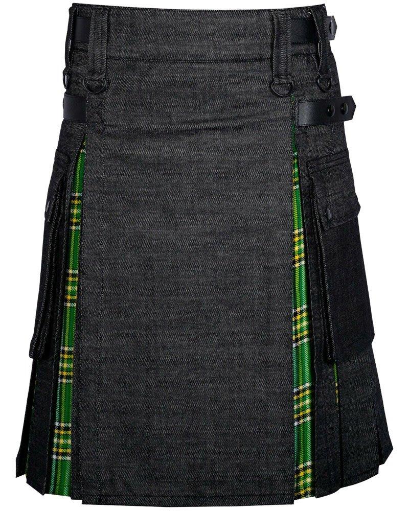 Black Denim Inner Irish Heritage Hybrid Utility Kilt with 42 Waist Size Adjustable Leather Straps