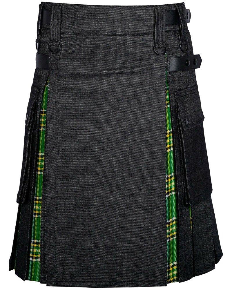 Black Denim Inner Irish Heritage Hybrid Utility Kilt with 46 Waist Size Adjustable Leather Straps
