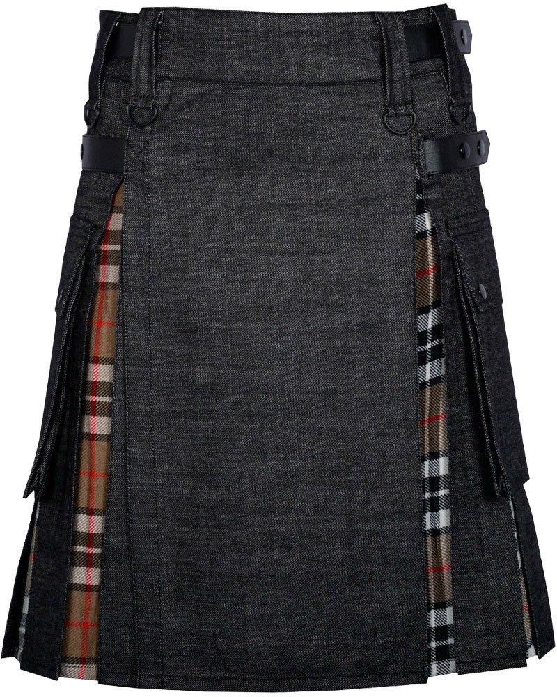 Black Denim Inner Camel Thomson Hybrid Kilt with 30 Waist Size Adjustable Leather Straps for Men