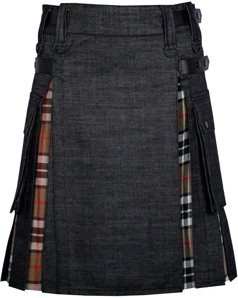 Black Denim Inner Camel Thomson Hybrid Kilt with 44 Waist Size Adjustable Leather Straps for Men