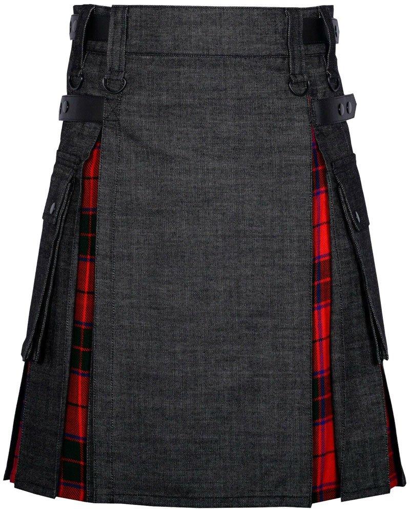 Custom Made Black Denim and Royal Stewart Hybrid Utility Kilt with 44 Waist Size Leather Straps