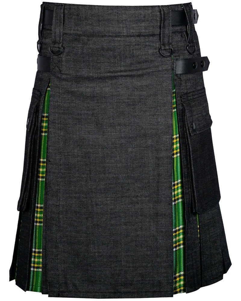 Active Men Utility Kilt 38 Waist Size Black Denim Inner Irish National Hybrid Kilt Leather Straps