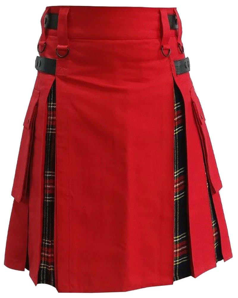 Active Men Red Cotton Inner Black Stewart Tartan Hybrid Utility Kilt 34 Waist Size Leather Straps