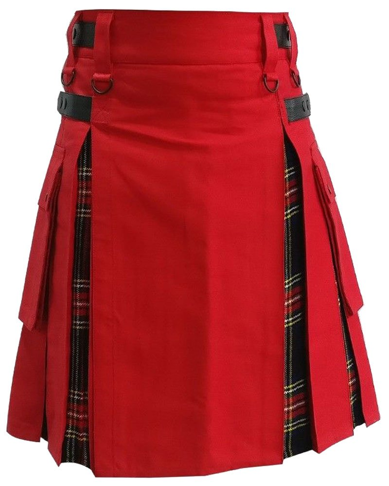 Active Men Red Cotton Inner Black Stewart Tartan Hybrid Utility Kilt 50 Waist Size Leather Straps