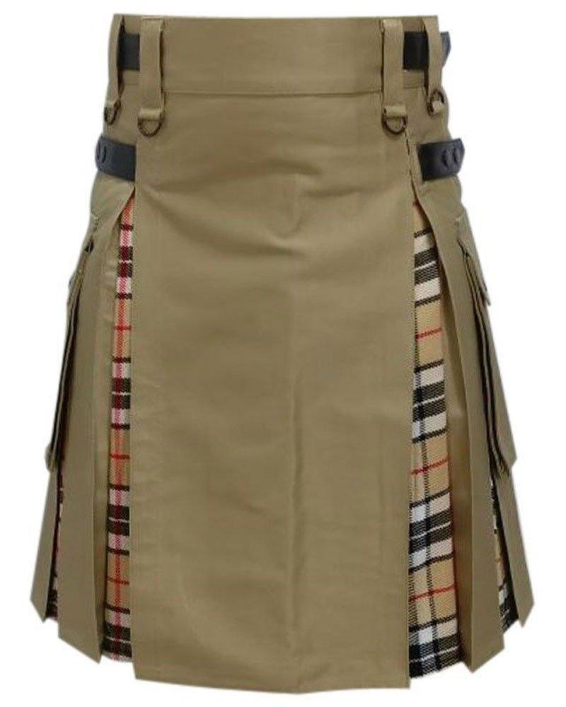 Men's Hybrid Utility Kilt Khaki & Camel Thompson Tartan Kilt 32 Waist Size Adjustable Leather Straps