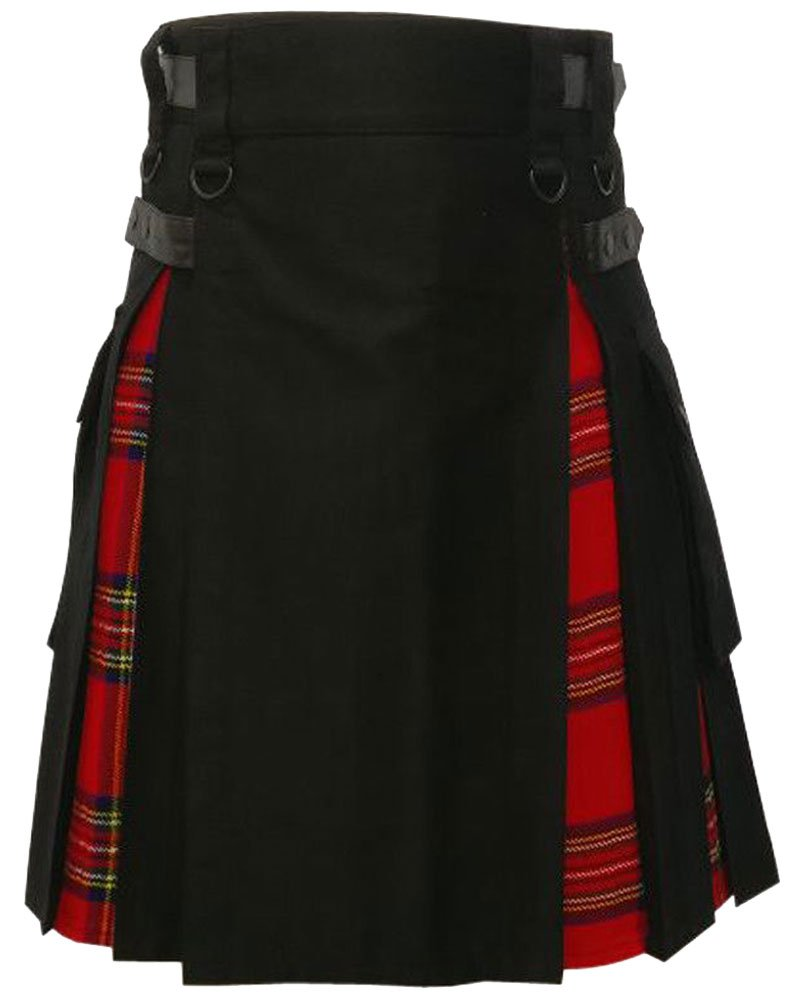 Black Cotton Inner Royal Stewart Tartan Hybrid Kilt 48 Waist Size Adjustable Leather Straps Kilt