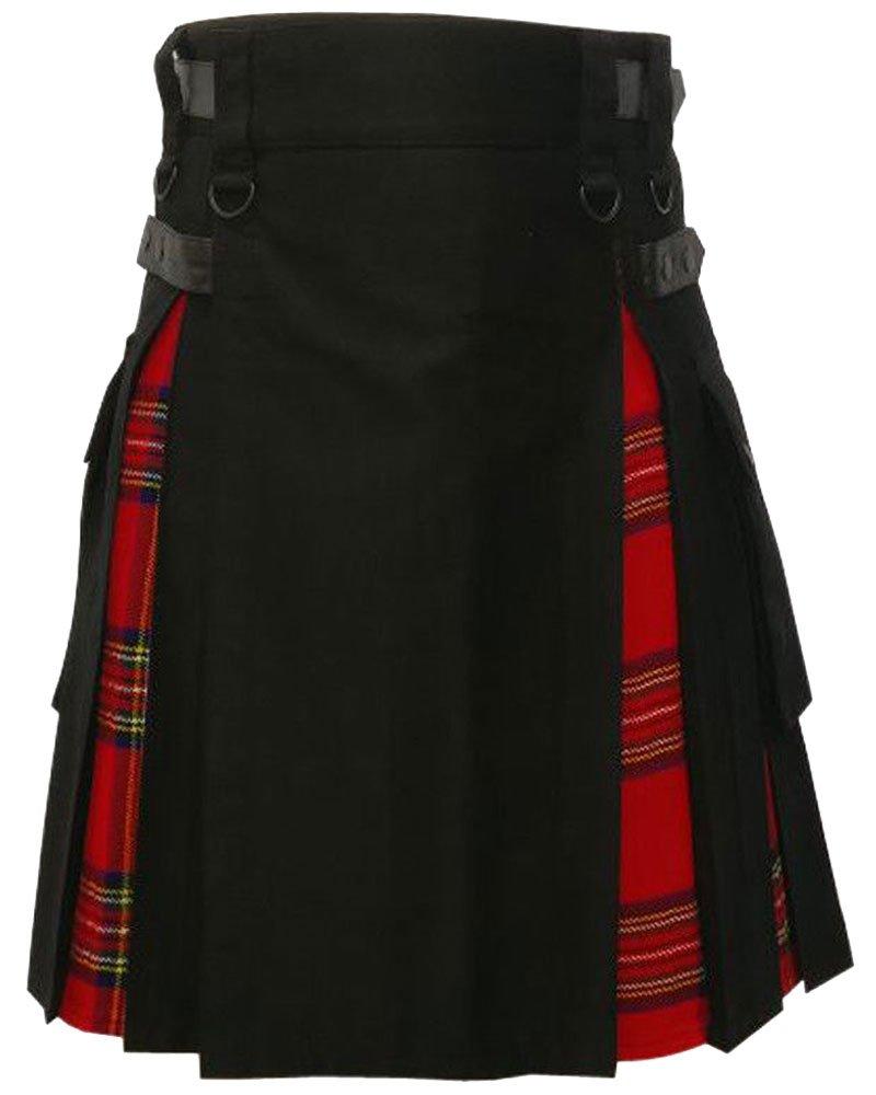 Black Cotton Inner Royal Stewart Tartan Hybrid Kilt 56 Waist Size Adjustable Leather Straps Kilt
