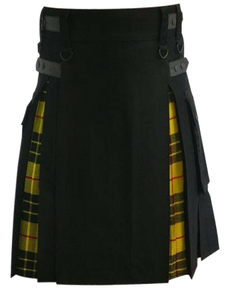 Hybrid Kilt Black & McLeod Of Lewis Tartan Utility Kilt with 48 Waist Size Adjustable Leather Straps