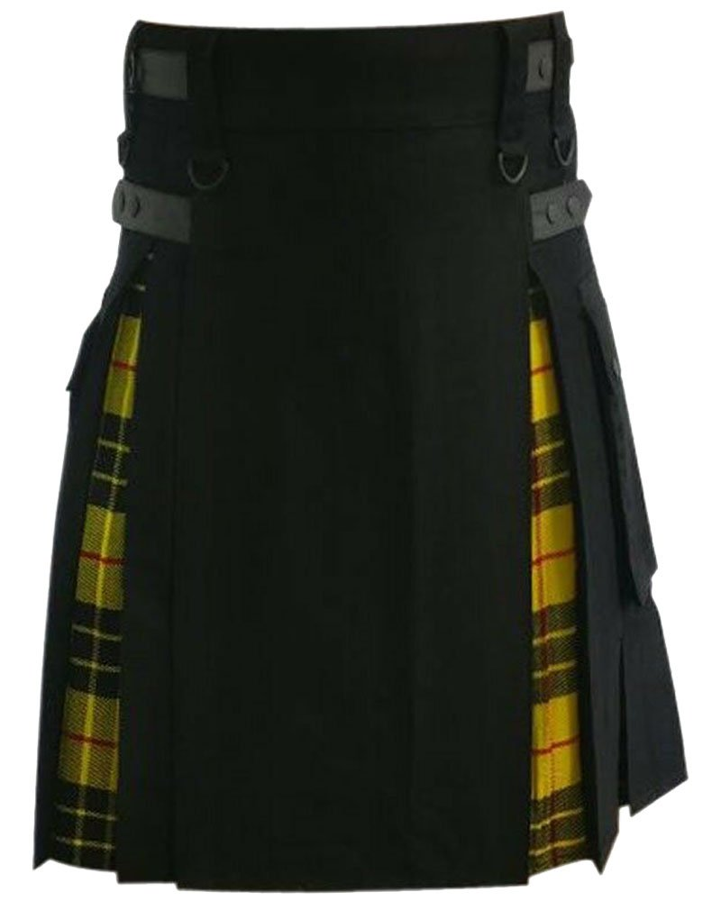 Hybrid Kilt Black & McLeod Of Lewis Tartan Utility Kilt with 50 Waist Size Adjustable Leather Straps