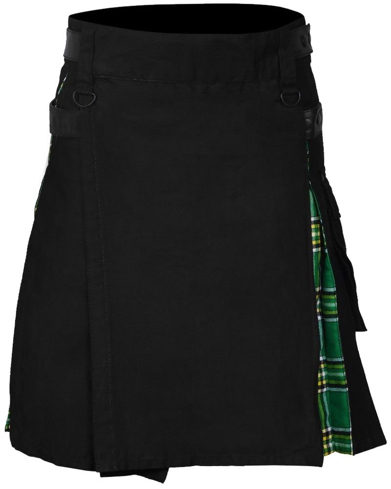 Men's Hybrid Utility Black Kilt & Irish Tartan Utility Kilt 44 Waist Size Adjustable Leather Straps