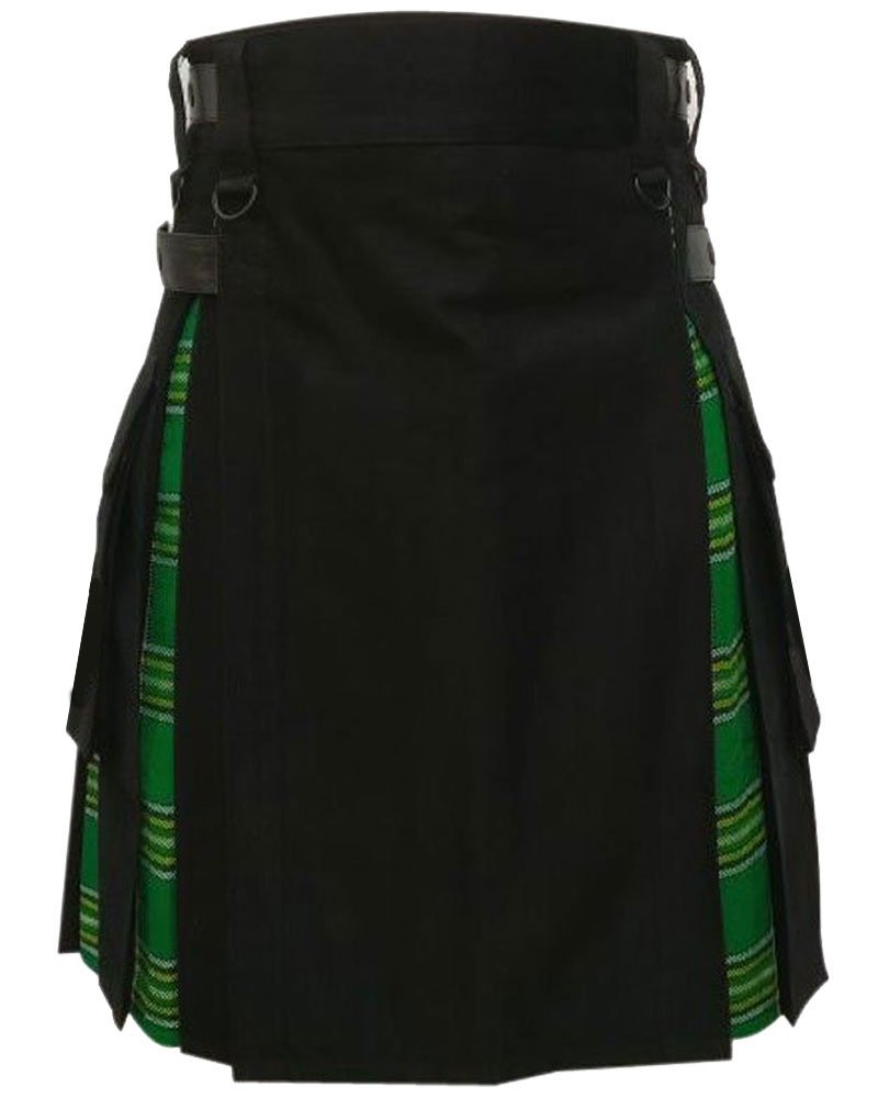 Men's Black Cotton Inner Irish Heritage Tartan Hybrid Kilt 42 Waist Size Adjustable Leather Straps