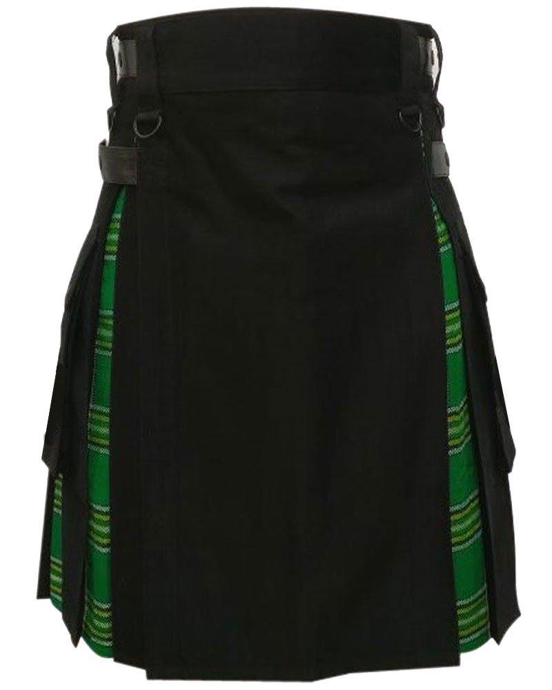 Men's Black Cotton Inner Irish Heritage Tartan Hybrid Kilt 48 Waist Size Adjustable Leather Straps