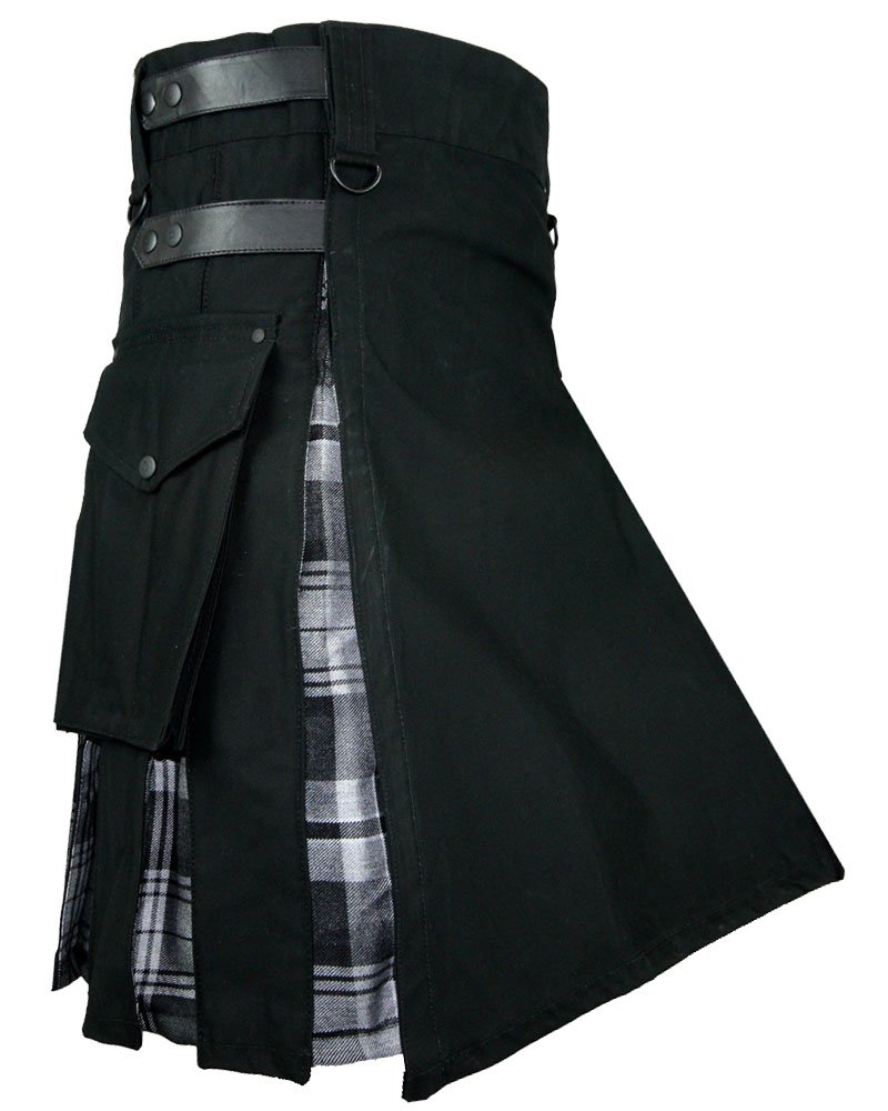 Men's Black Cotton Inner Gray Watch Tartan Hybrid Kilt with 38 Waist Size Adjustable Leather Straps