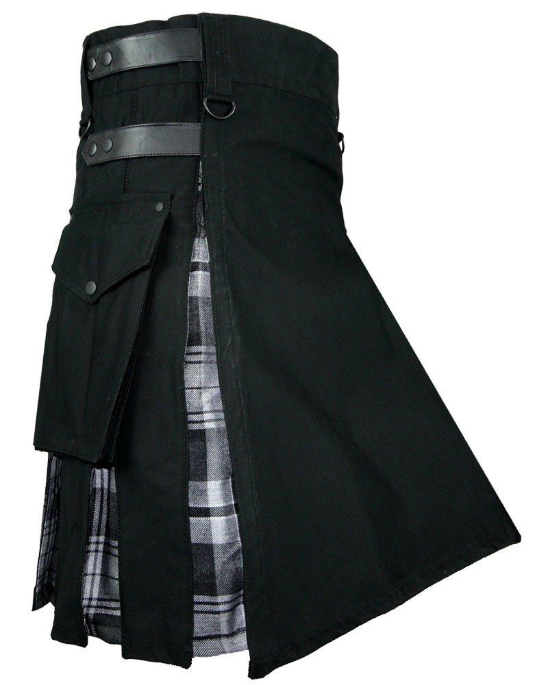 Men's Black Cotton Inner Gray Watch Tartan Hybrid Kilt with 44 Waist Size Adjustable Leather Straps