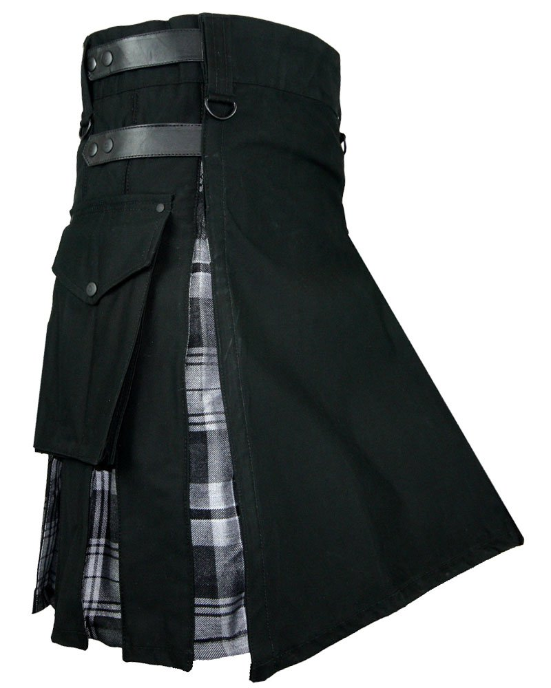 Men's Black Cotton Inner Gray Watch Tartan Hybrid Kilt with 46 Waist Size Adjustable Leather Straps