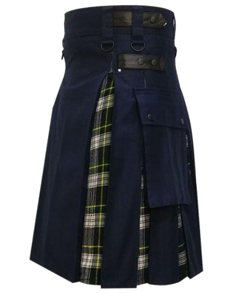 Men's Black Cotton Inner Dress Gordon Tartan Hybrid Kilt 30 Waist Size Adjustable Leather Straps