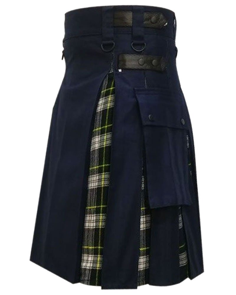 Men's Black Cotton Inner Dress Gordon Tartan Hybrid Kilt 36 Waist Size Adjustable Leather Straps