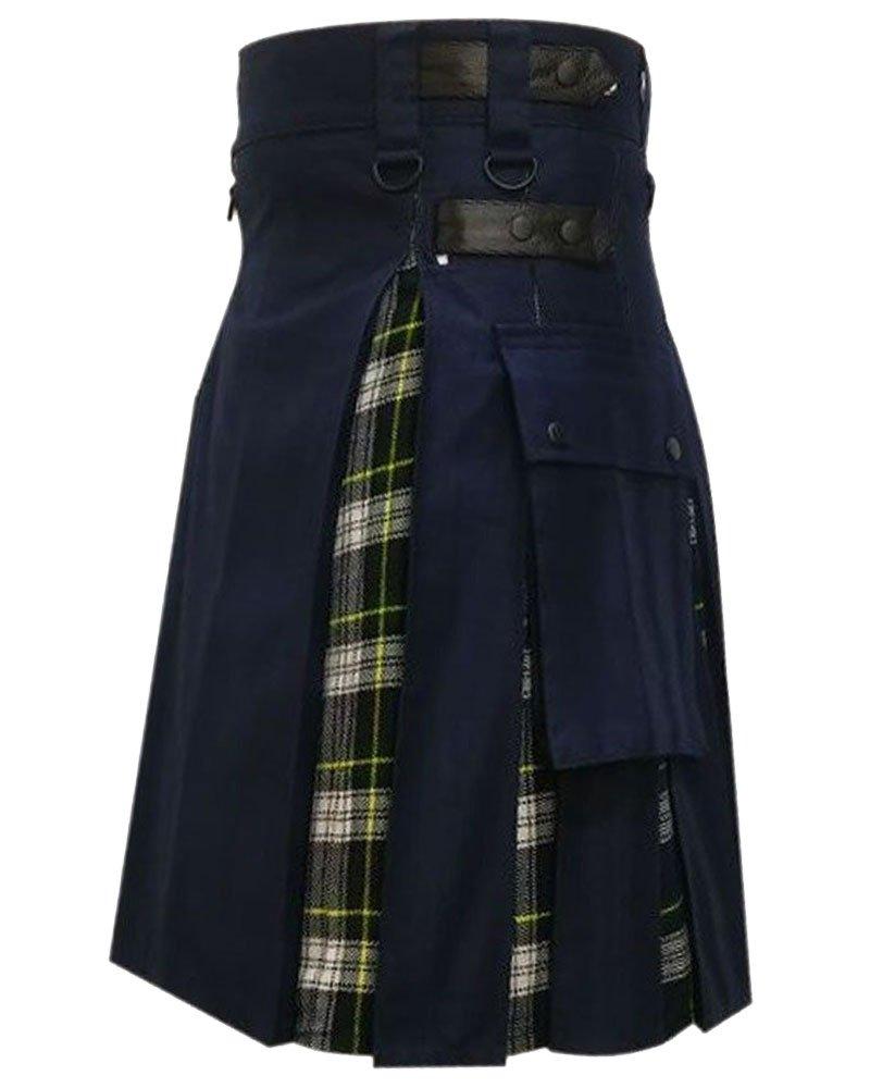 Men's Black Cotton Inner Dress Gordon Tartan Hybrid Kilt 44 Waist Size Adjustable Leather Straps