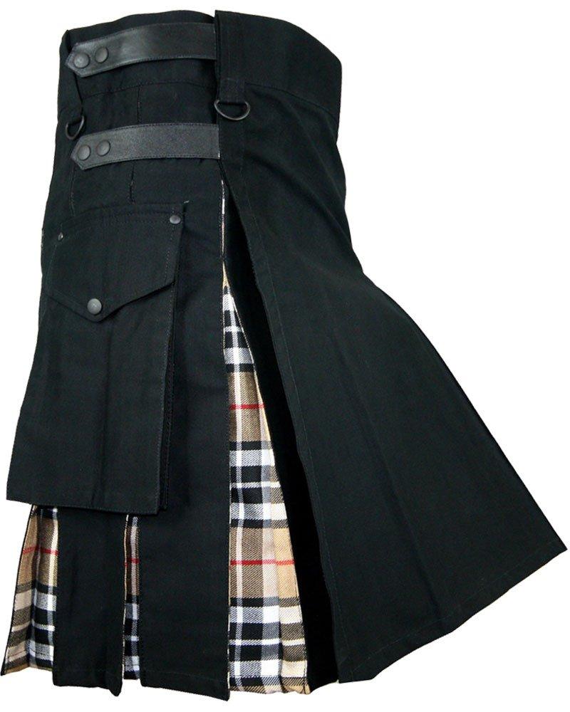 Black Cotton Kilt Inner Camel Thompson Tartan Hybrid Kilt 40 Size Adjustable Leather Strap Kilt