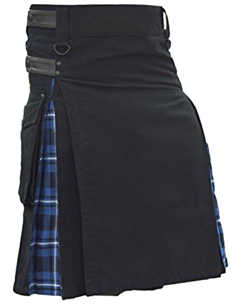 Men's Black Cotton Inner Blue Tartan Hybrid Kilt with 36 Waist Size Adjustable Leather Straps
