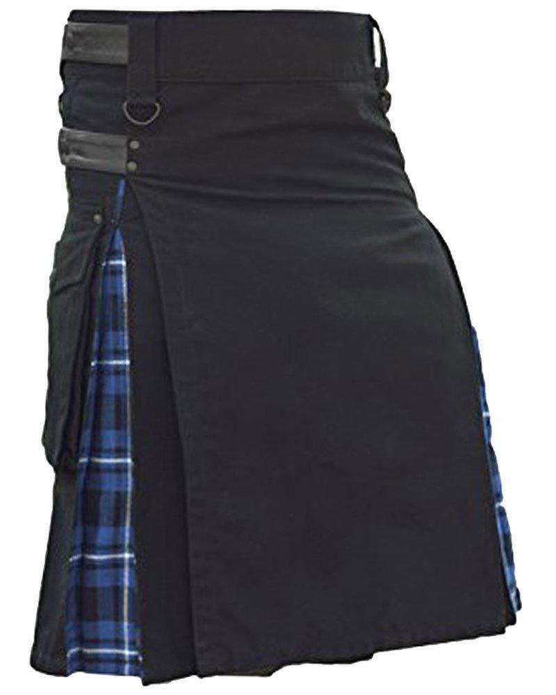 Men's Black Cotton Inner Blue Tartan Hybrid Kilt with 42 Waist Size Adjustable Leather Straps
