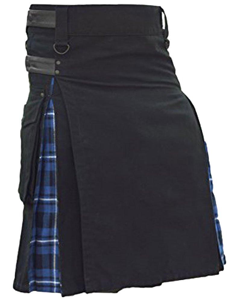 Men's Black Cotton Inner Blue Tartan Hybrid Kilt with 48 Waist Size Adjustable Leather Straps