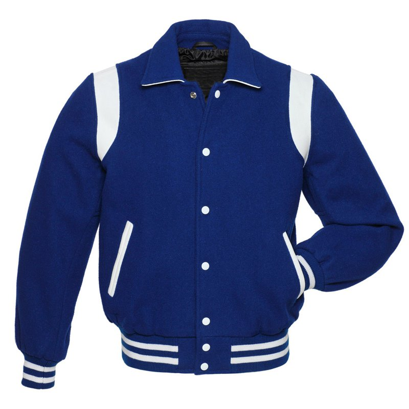 Royal Blue Wool Body Leather Stripes Blue Arms-Letterman-College-Varsity-Jacket