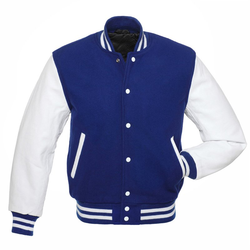 Royal Blue Wool, White Leather Arms,Letterman Varsity Hoodie Jacket