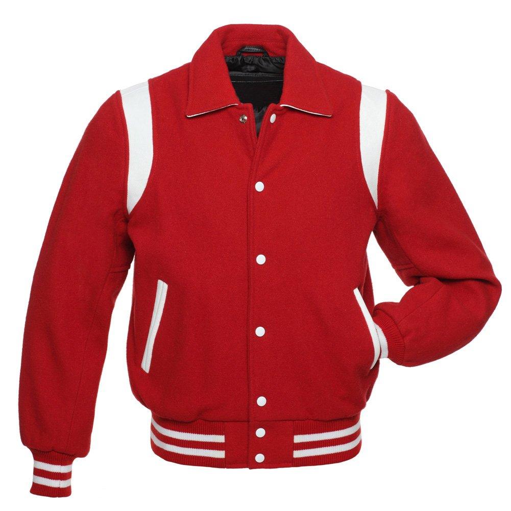 Red Wool, White Stripe Arms,Letterman Varsity Hoodie Jacket