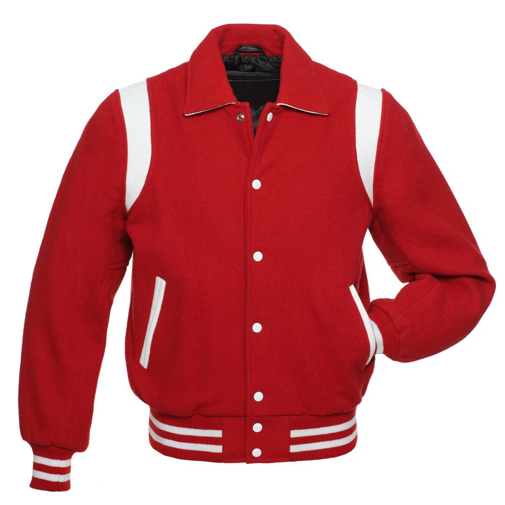 Red Wool White Stripes-Arms-Letterman-College-Varsity-Jacket