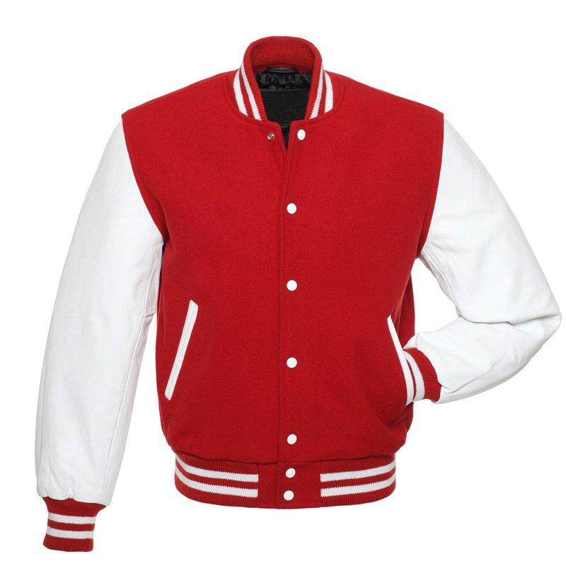 Red Wool, White Real Leather Arms,Letterman Varsity Hoodie Jacket