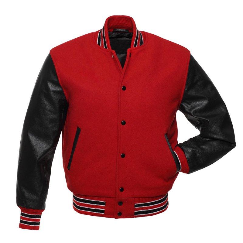 Red Wool Black Arms Unisex American Style Varsity Letterman University College Baseball Teddy Jacket